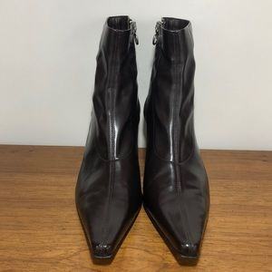 Donald J. Pliner Black Leather Pointy Toe Boots